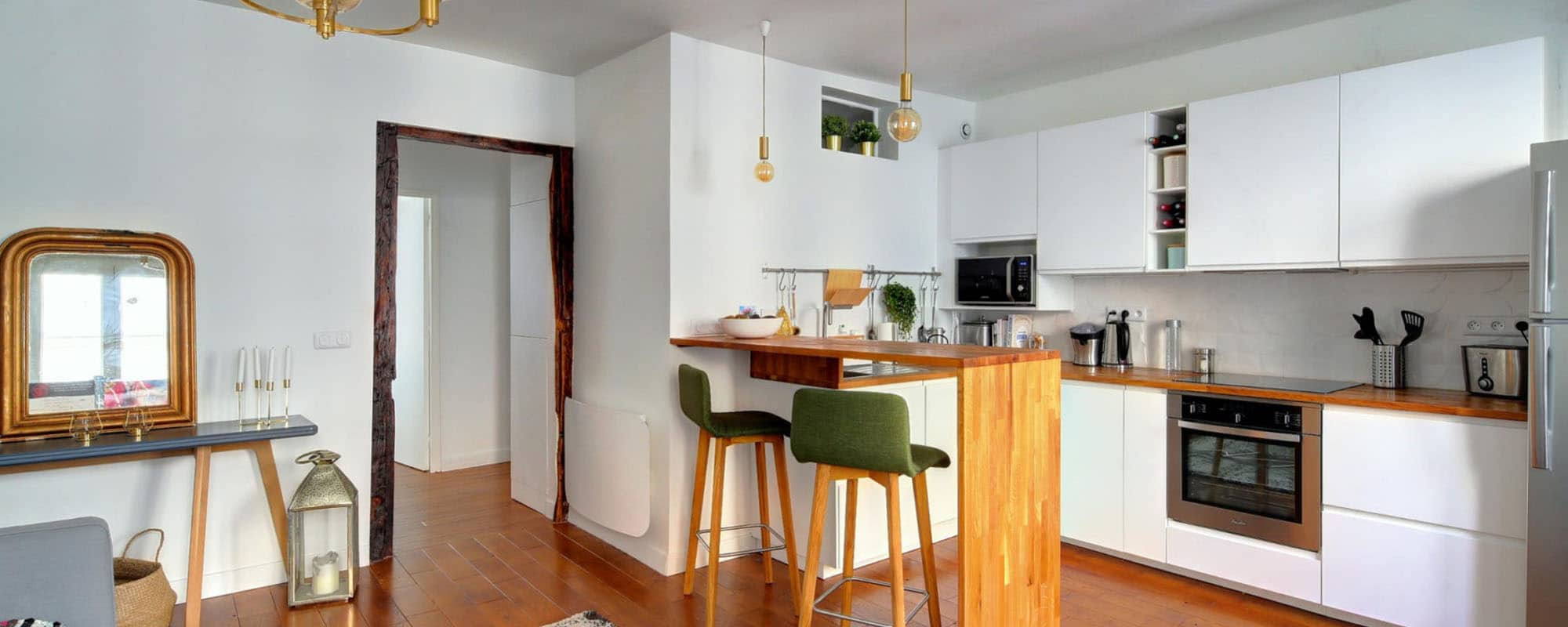 aménagement cuinine ouverte style scandinave