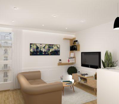 rendu 3D salon style nordique appartement cosy