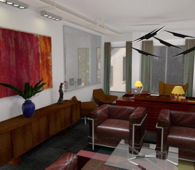 agencement plateau de bureaux en 3d espace attente