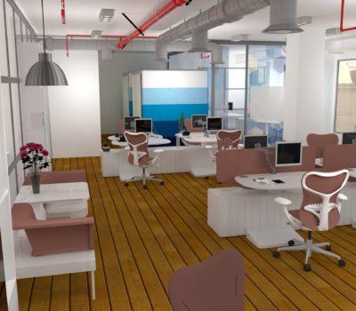 projection 3d plateau de bureaux en open-space