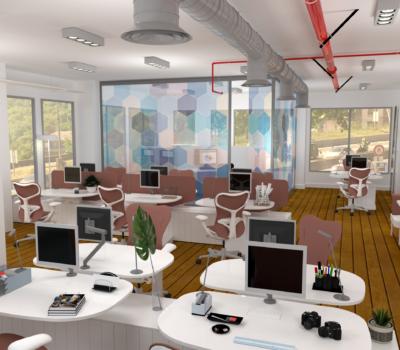 plateau de bureaux en open-place rendu 3D