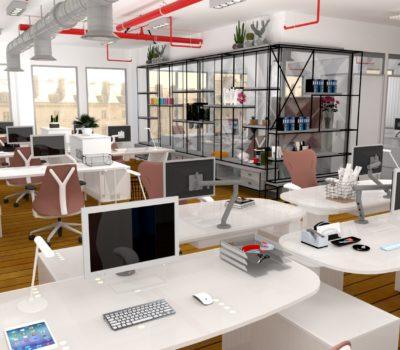 rendu 3D agencement plateau de bureaux en open-space