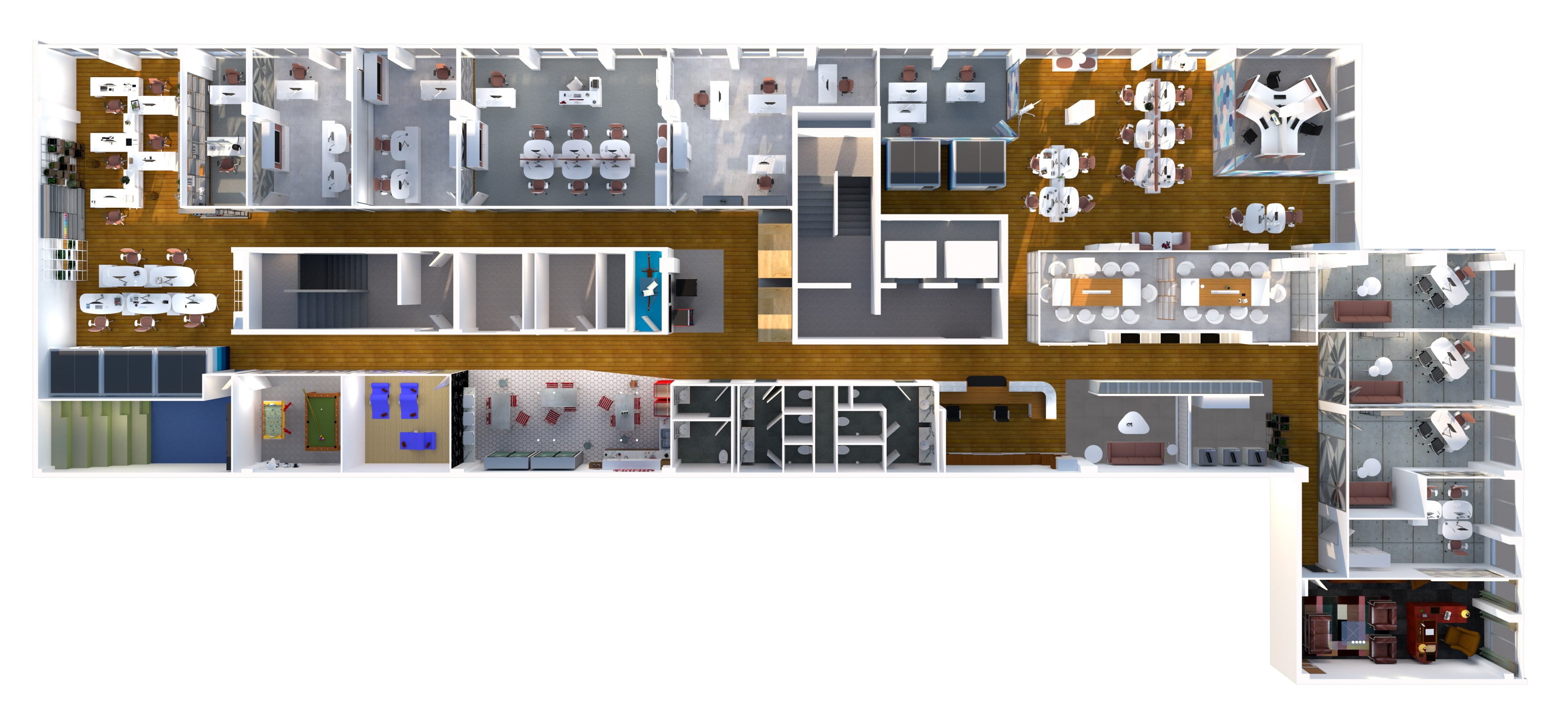 rendu 3D agencement de plateau bureaux professionnels
