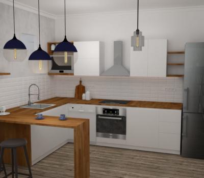 Agencement cuisine en rendu 3D