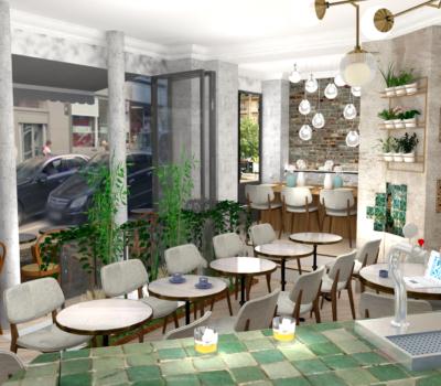 décoration interieur bar-restaurant rendu 3D
