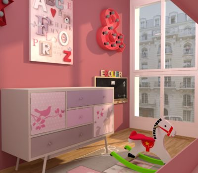 rendu 3D-chnambre rose petite fille
