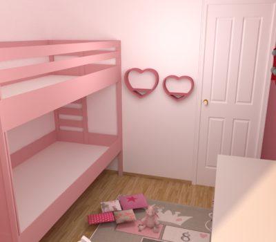 rendu 3D chambre enfant lit superposé
