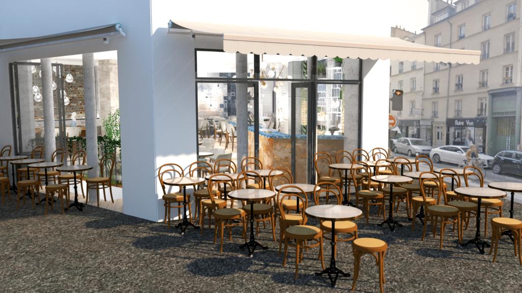conception 3D amenagement façade restaurant