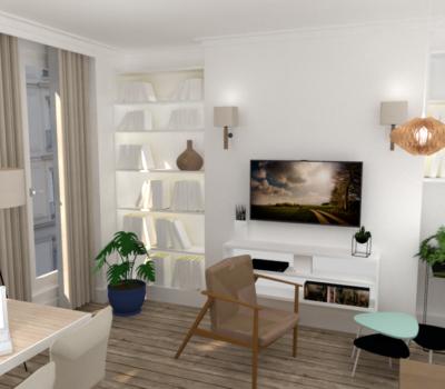 aménagement du sejour style cosy en rendu 3D