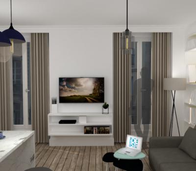 Aménagement séjour avec cuisine ouverte sur salon en rendu 3D