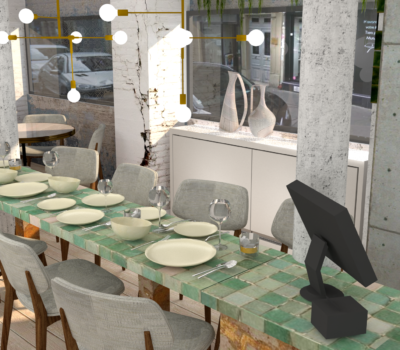 rendu 3D amenagement bar restaurant-parisien