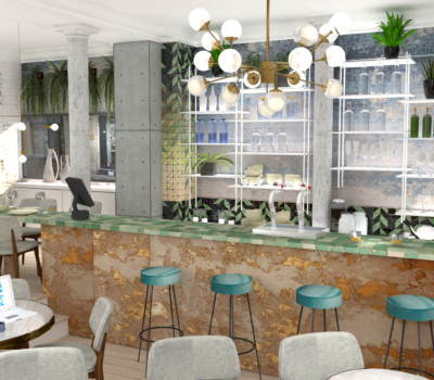 rendu 3D amenagement interieur d'un bar-restaurant