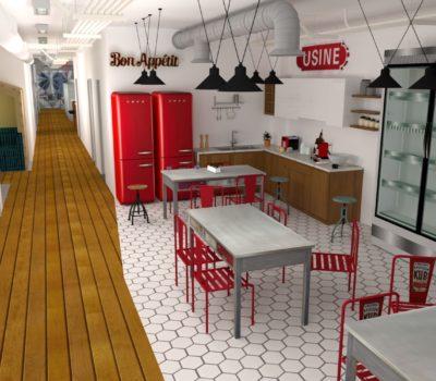 agencement cuisine 3D pour un plateau de bureaux