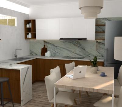 amenagement et décoration intérieur de la cuisine en rendu 3d