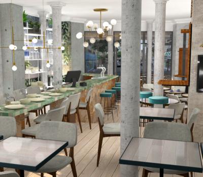 amenagement restaurant parisien en 3D