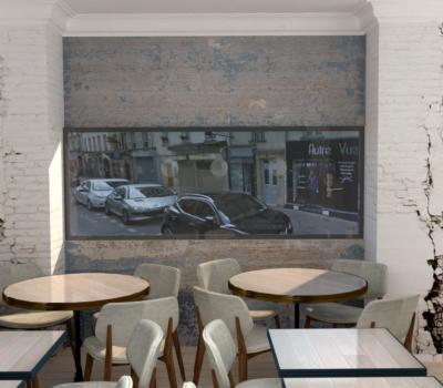 agencement d'un restaurant et decoration interieure en rendu-3d