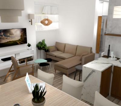 séjour 3D appartement en 3D