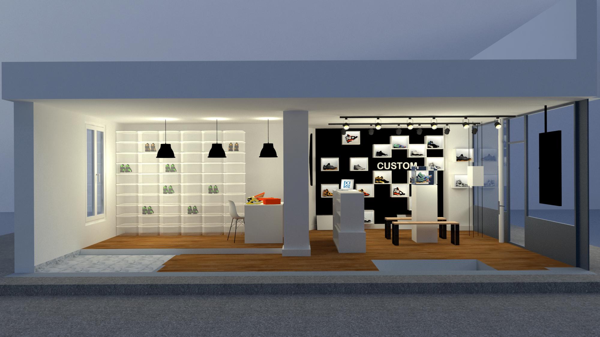 conception 3d magasin de chaussure