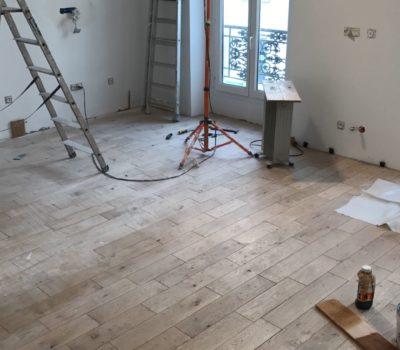 chantier rénovation séjour parisien